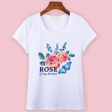Woman Tops Summer T-shirts For Women's Letter Rose Flower Butterfly T Shirt Lady Casual Sweet Fashion Tees Female T-shirt