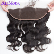 Ali Moda 13x4 Pre Plucked Full Lace Frontal Closure Bleached Knots With Baby Hair Brazilian Body Wave Frontal Remy Human Hair