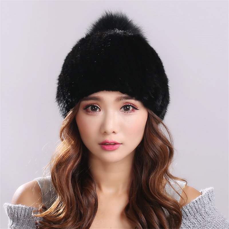 Knitting Minks Fur thickening version Warm and comfortable pure black  canopies fur hat for women gorros mujer invierno#H9015Одежда и ак�е��уары<br><br><br>Aliexpress