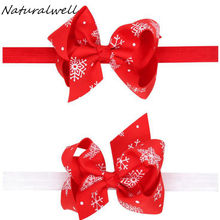 Naturalwell Christmas Hairbows Kids Gift New Little Girl Headband Hair Bands Boutique Children Accessories Baby Hairband HB211D(China)