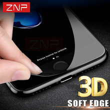 ZNP 3D Soft Full Coverage Tempered Glass For iphone 6 6S 9H Screen Protector Protective Guard Film For iPhone 7 8 6 Glass Cover(China)