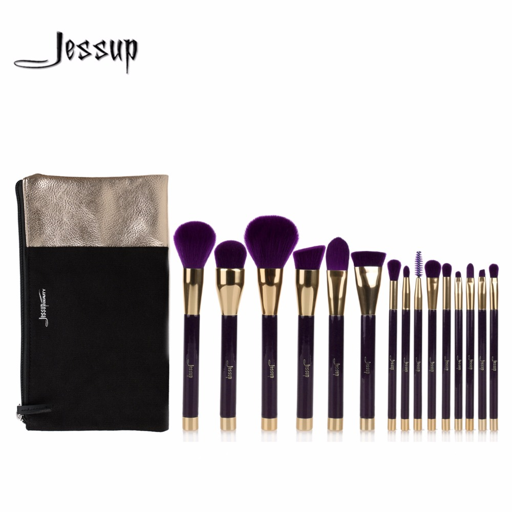 Jessup brushes 15pcs Beauty Makeup Brushes Set Brush Tool Purple and Darkviolet Cosmetics Bags T114&amp;CB002<br>
