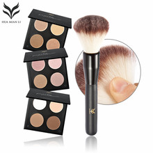 Face Foundation Base Makeup Matte Fix Pressed Powder Palette Concealer Puff Contour Nude Compact Cosmetics With Blush brush(China)
