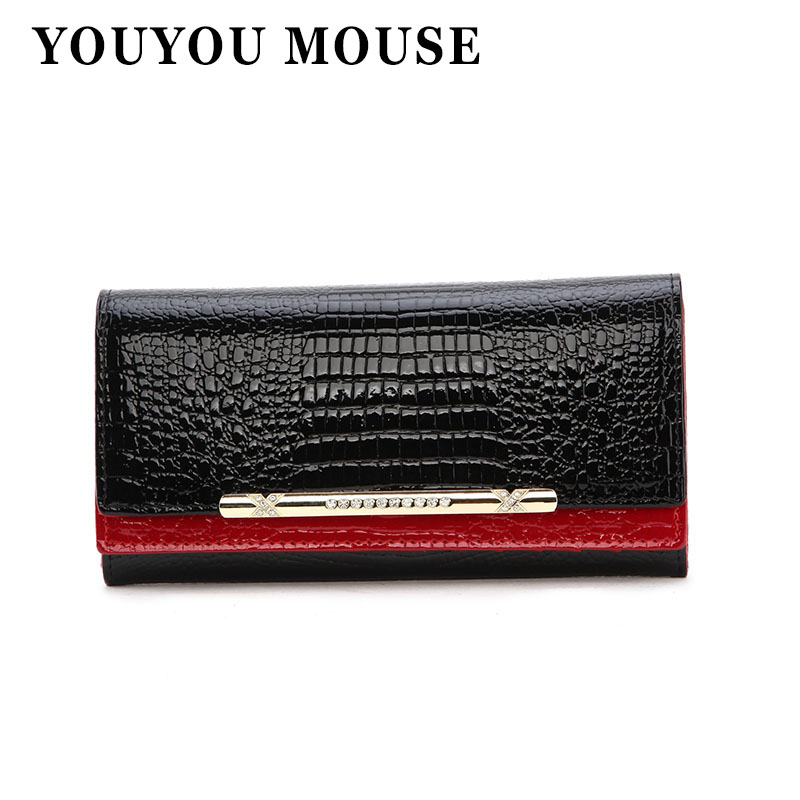 YOUYOU MOUSE Coat Of Paint Alligator Genuine Leather Women Wallet Fashion Long Purse Womens Credit Card Holder Cowhide Clutch<br><br>Aliexpress