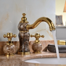 Luxury gold Solid brass copper Marble stone dual handle Washbasin faucet European three holes lavatory Faucet Waterfall tap