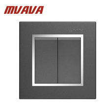 Free shipping MVAVA 16A 110~250V 220V 2 gang 1 way electrical wiring push button light wall switch chromed frame PC panel