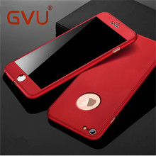 GVU 360 Degree Case For iPhone 6 7 8 X Case Hard Shockproof Slim Cover Full Protective For iPhone X 5 6 7 8 Plus Case + Glass(China)