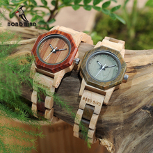 BOBO BIRD WM25M26 Duotone Wooden Quartz Watch For Women Creative Design Octagon Exquisite Watches Gift Box OEM(China)