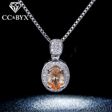CC 925 Sterling Silver Zirconia & Crystal Necklaces For Women Party Wedding Jewelry Pendents Neckless Bijoux Collana Donna N007