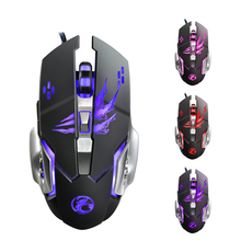 A8 Wired 4 Colors LED Backlit 3200DPI USB Optical Gaming Mouse Gamer Ergonomic Metal Panel For PC Laptop Computer + 6 Buttons(China)