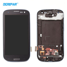 Blue For Samsung Galaxy S3 i9300 LCD Display Touch Screen Digitizer with Home Botton Full Assembly + Bezel Frame Free shipping(China)