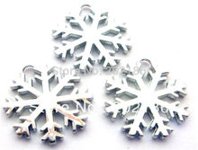DIY hang pendant charms 50pcs Snowflake charms Fit cell phone charms or necklace(China)