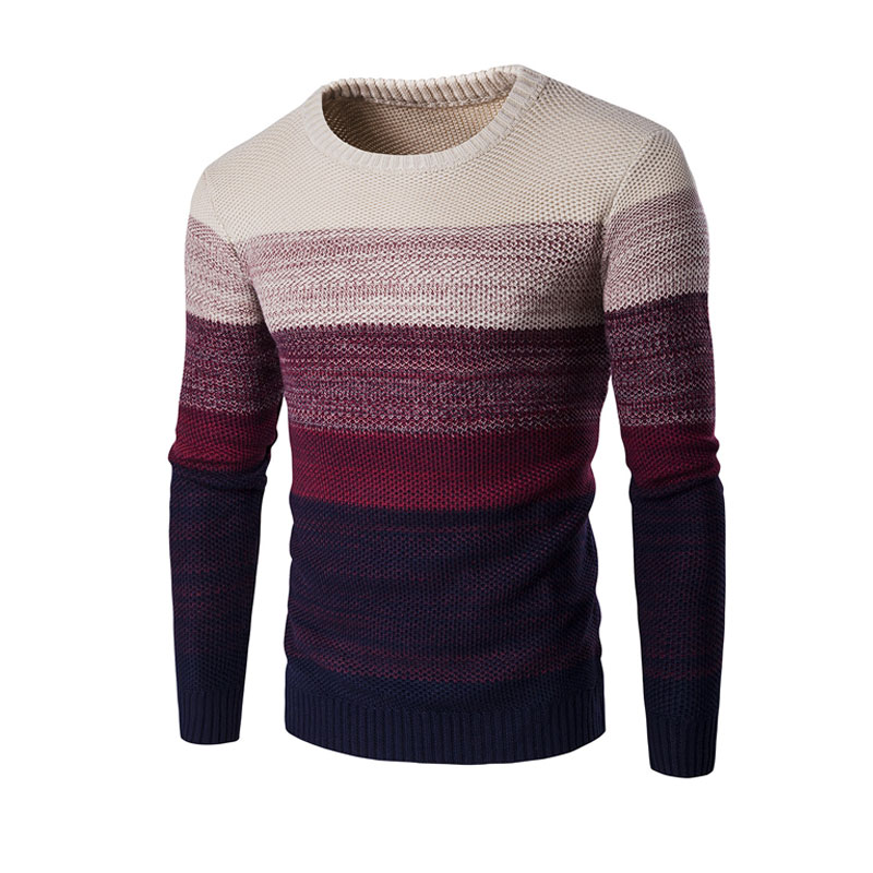 Autumn Fashion Brand Casual Sweater Men O-Neck Gradient Slim Knitting Sweaters & Pullovers Sueter Hombre Pullover Knitwear 2XL