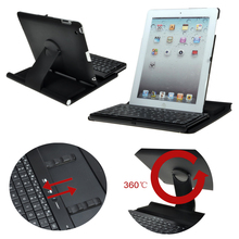 Fashion Wireless Bluetooth Keyboard Cover Case with Rotary Stand for iPad 4/3/2- Black(China)