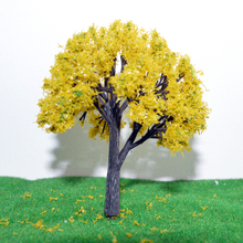 8cm Yellow Flower Trees Model Train Layout Garden Scenery landscape Trees Diorama Miniature Yellow Color