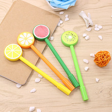8pcs Cute fruit lollipops gel pens for writing Watermelon Lemon 0.5mm black Sign Pen for Stationery office school supplies(China)