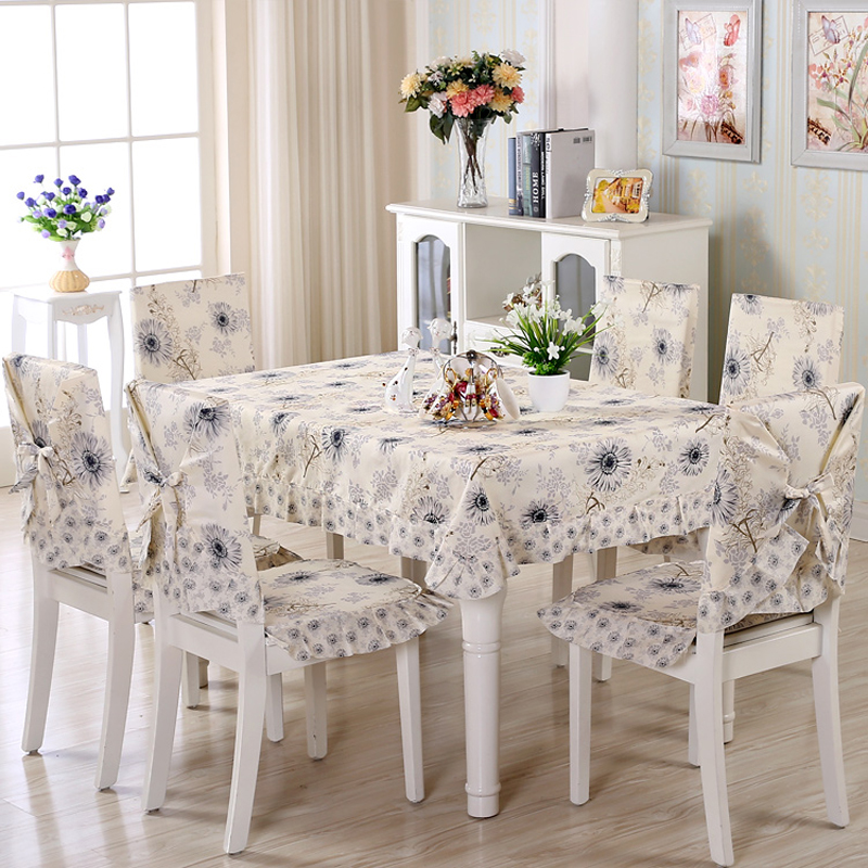 Elegant Dandelion Pattern 9 pcs/set Tablecloth Set with Chair Covers Rectangular Tablecloths for Wedding Table Cover nappe ronde(China (Mainland))
