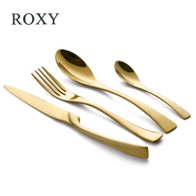 Wholesale 24Pcs/set Stainless Steel Gold Plate Cutlery Set Dinnerware Tableware Silverware Sets Dinner Knife and Fork Set(China)