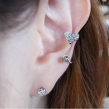 Hot Fashion 2017 New Lovely Sweet Heart-shaped imitation diamond ear clips Wholesale Jewelry Accessories