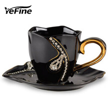 YeFine Rhinestone Cups And Saucer Bone China Coffee Cup Set Advanced Diamante Tea Mugs Ceramic Couple Cups Porcelain Luxury Gift(China)