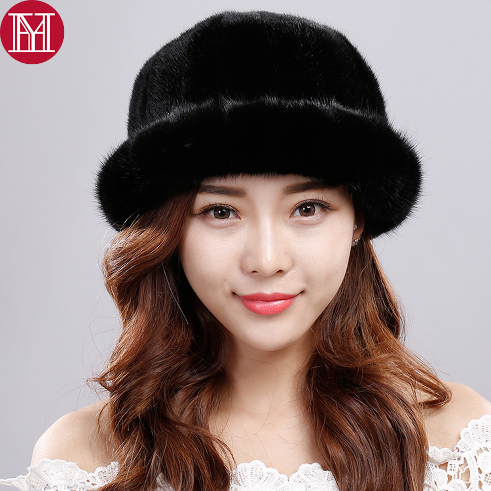 2018 New Style 100% Real Mink Fur Hat Women Winter Knitted Genuine Real Mink Fur Beanies Cap Thick Soft Real Mink Fur Casual Hat