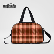 Dispalang 3D Plaid Printing Mens Hand Luggage Travel Duffle Bags With Shoes Pocket Women Multifunctional Weekender Overnight Bag(China)