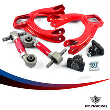 PQY RACING- FOR HONDA CIVIC 92-95/INTEGRA FRONT UPPER CONTROL ARM TUBE CAMBER KIT + 92-00 Adjustable Rear Camber Arms RED(China)