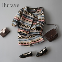 Hurave  girls kids clothes patchwork print girls clothing sets Cardigan Sweatshirts + Shorts pants girls clothes Fashion new