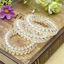 3 Pcs New Fashion Girl Clear Elastic Rubber Hairband Phone Wire Hair Tie Rope Band Ponytail  Hot