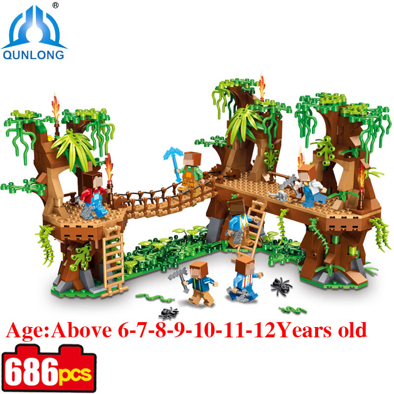 686pcs Minecrafted Village Woods Action Figures Building Blocks Bricks Toys For Children Compatible Legoed Minecraft City Toys<br>
