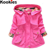 2017 Spring New Design 2-7Years Girls Owl Printed Long Trench Coat Girls Jacket Hot Pink Red Color Hooded Coat BTP006