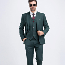 MarKyi fashion mens summer suits wedding groom 9 colors solid slim fit wedding suits for men 3 peice (jacket+vest+pant)(China)
