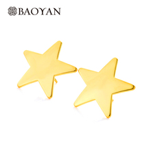 2016 New Brand 20mm Nickel Free Lead Free Gold Star Earring Stud For Women 316L Stainless Steel Double SideS Earring N15(China)