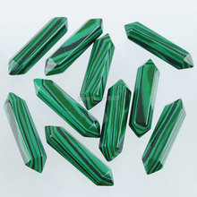 Free shipping Synthetic Malachite Hexagonal Chakra Cabochon CAB For Making Jewelry 8x35mm 1 PCS IU3072(China)