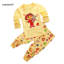 LAKAKSTY Cotton Brand Kids Pajamas Clothing Set For Girls Full Sleeve Children's Homewear Cartoon Character Dora Bebe Pijamas