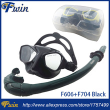 Top Scuba diving gears and snorkel equipment Black silicone diving mask Low profile spearfishing mask flexable snorkel