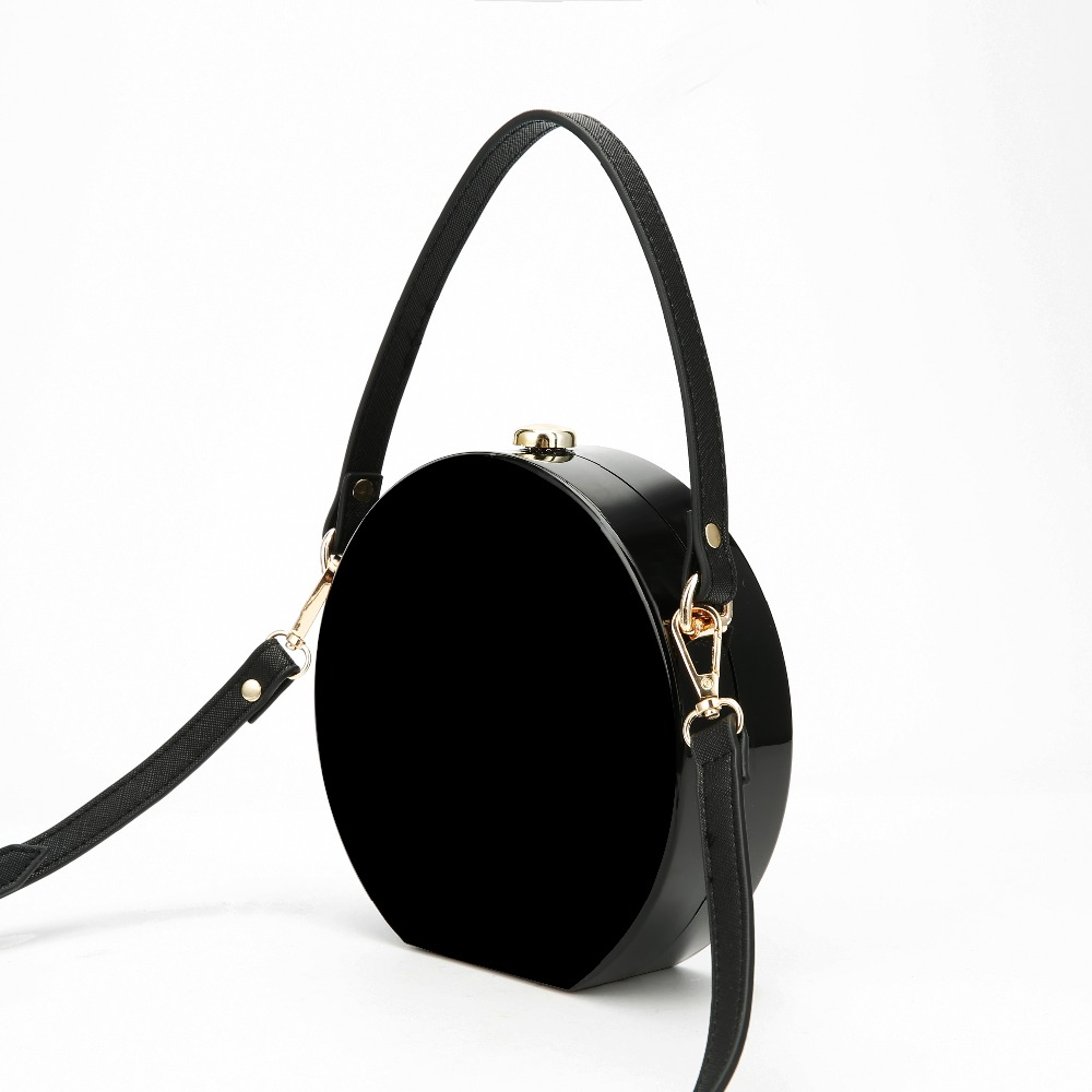 Messenger Bag Acrylic-Bag Zipper-Bag Round Small Black Female Girls Cross-Body Mini Casual title=