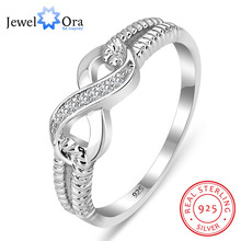 Genuine 925 Sterling Silver Jewelry Brand Rings For Women Wedding Lady Infinity Ring Size Gift For Mommy (JewelOra RI101804)(China)