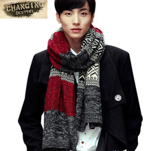 High Quality Fashion Men Scarf Winter Knit Scarf Patchwork Thickening Warm Long Scarves Shawl Wrap Casual Outdoor Scarf