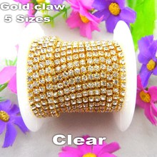 Factory sale High Density 5yards/Roll clear crystal Rhinestone Gold base claw close cup Chain Sew On glue on diy trim trimming