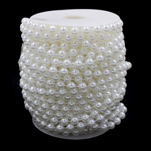Free Shipping 5M 14mm Cream Pearls Bead Garland Chain Wedding Decoration Center Candle Crafting DIY Favor(China)