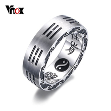 Vnox China Bagua Ying Yang Ring for Women Men High Polished Stainless Steel Engraved Chinese Characters Letters Rings Jewelry(China)