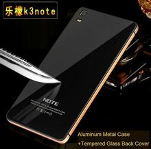 Top Quality Luxury Phone Cases For Lenovo K3 Note Case Aluminium Metal Frame + Tempered Glass Back Battery Cover