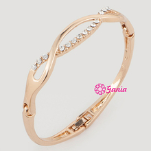 New Arrival High Quality Yellow Gold Czech Crystal Hinged Bangles & Bracelets Jewelry Accessory For Women