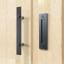 "DIYHD 12"" Stainless Steel Flat Bar Two Side Smooth Black Barn Door Handle And Pull"