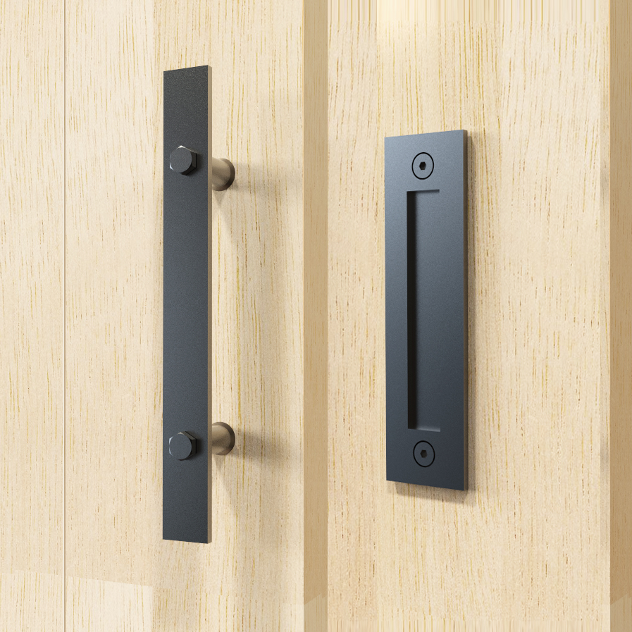 DIYHD 12 Stainless Steel Flat Bar Two Side Smooth Black Barn Door Handle And Pull <br>