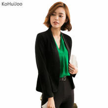 KoHuiJoo S-4XL Women Classic Blazers and Jackets Black White V Neck Pleated PatchworK Korean Plus Size Blazer Female Plus Size(China)