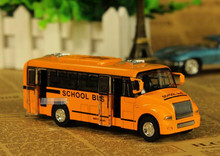 1XAlloy City School Bus Toy Model Car Light Music For Baby Kids Children Playing Games(China)