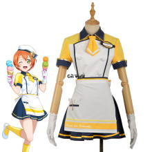 Love Live School Idol Project Hoshizora Rin Ice Cream Cafe Maid Apron Dress Tops Skirt Outfit Anime Cosplay Costumes