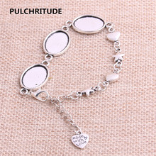 PULCHRITUDE 3pcs 22cm Alloy Antique Silver Chain Bracelet Hand Charm Round Cabochon base Setting Fit 18*13mm Dia Women Z0027